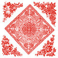 Chinese paper-cut of flower pattern Stock Image