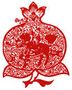Chinese paper-cut of kirin and peach Royalty Free Stock Photography