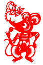 Chinese paper cut rats studio shoot zodiac on white background Stock Image