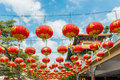 Chinese Paper Lanterns against a Blue Sky Royalty Free Stock Photography
