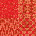 Chinese pattern set with traditional designs. Royalty Free Stock Photo