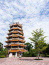 Chinese pavilion in buddhist temple with tourist and blue sky in the background Stock Image