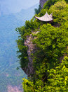 Chinese pavilion by the cliff, Mt. Tianmen, China Stock Photography