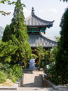 Chinese pavilion with round gate Royalty Free Stock Photo