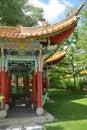 Chinese pavillion in garden beautiful pavilion landscaped Stock Photo