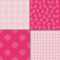 Chinese pink geometric pattern set. Vector illustration. Royalty Free Stock Photo