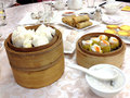 Chinese pork bun and steam dumpling Royalty Free Stock Photo