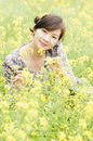 Chinese pretty girl smiling rape Royalty Free Stock Image