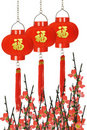 Chinese prosperity lanterns and plum blossom Stock Images