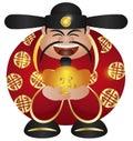 Chinese Prosperity Money God with Gold Bar Royalty Free Stock Photo