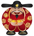 Chinese Prosperity Money God with Oranges Royalty Free Stock Images