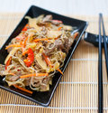 Chinese rce noodles with meat and vegetables rice Royalty Free Stock Photos