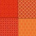 Chinese red geometric pattern set Royalty Free Stock Photo