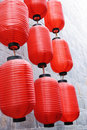 Chinese red lantern on the wall Stock Photos