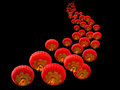 Chinese red paper lanterns on a black background Stock Image