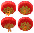 Chinese red paper lanterns isolated on a white background Royalty Free Stock Photography