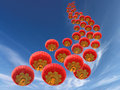 Chinese red paper lanterns and sky as background Stock Image