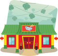 Chinese restaurant cartoon illustration of and lanterns in the background eps Royalty Free Stock Photography
