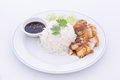 Chinese roasted pork served with soy sauce