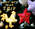 Chinese Rooster 2017 New Year's design background. Royalty Free Stock Photo