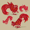 Chinese rooster paper-cutting symbols Royalty Free Stock Photo