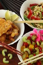Chinese salad and fish Royalty Free Stock Photo
