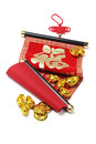 Chinese scroll and gold ingots prosperity with festive greetings good fortune Royalty Free Stock Photo