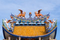 Chinese sculpture on roof dragon headed unicorn is a symbol of goodness Stock Photography