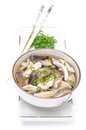 Chinese soup with chicken and shiitake mushrooms isolated on white Royalty Free Stock Photography