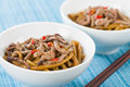Chinese spicy beef and black bean sauce with thick wheat noodles Royalty Free Stock Image