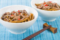 Chinese spicy beef and black bean sauce with thick wheat noodles Stock Photo