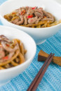 Chinese spicy beef and black bean sauce with thick wheat noodles Royalty Free Stock Photo