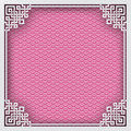 Chinese square frame on pink pattern oriental background for greeting card