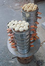 Chinese steamed baozi for breakfast street food booth selling in beijing china Stock Image