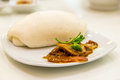 Chinese steamed bun and Barbecued red pork white sauce Royalty Free Stock Photo