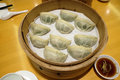 Chinese steamed dumpling in Bamboo Steamer Royalty Free Stock Photo