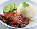 Chinese style chicken rice with soy sauce Royalty Free Stock Photo