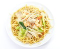 Chinese style deep fried yellow noodles with pork chili vegetables and soup Royalty Free Stock Image