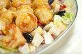 Chinese style fried shrimp fruit salad mayonnaise Royalty Free Stock Photos
