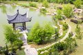 Chinese style garden with pavilion east asian Royalty Free Stock Photography