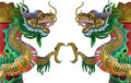 Chinese style twin dragon pillar statues on white background Royalty Free Stock Photography