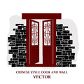Chinese style window tracery pattern door and wall vector of Stock Photos
