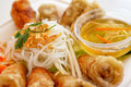 Chinese take away food rolls with different meat vegetables and noodles Royalty Free Stock Image