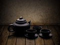 Chinese tea crockery on wooden table Royalty Free Stock Photography