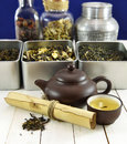 Chinese tea still life with kettle, bowl and scroll Royalty Free Stock Photo