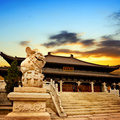 Chinese temple ancient architecture ancient temples and stone lions Stock Image