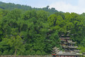 Chinese temple in forest two kings at yulei mountain park dujiangyan china built to commemorate libing who built the water Royalty Free Stock Image