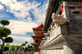 Chinese temple in the morning with cloudy skies. Royalty Free Stock Photo