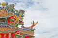 Chinese temple roof and blue sky Royalty Free Stock Photos