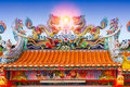 Chinese temple roof, china ancient shrine colorful architecture Royalty Free Stock Photo
